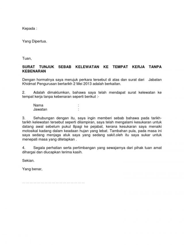 Contoh Surat Tidak Hadir Bekerja Lengkap