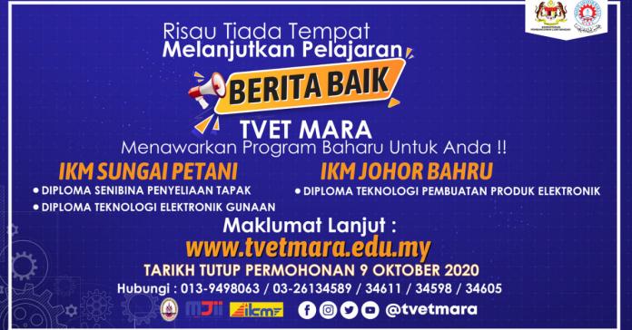 Permohonan Kemasukkan TVET MARA (Program Diploma) Kini Di Buka