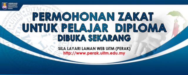 Permohonan zakat bagi pelajar Diploma sesi Septmber 2020 - Febuari 2021
